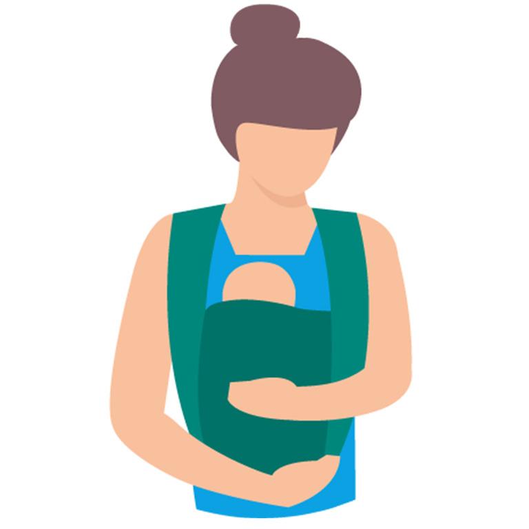 Mutter trägt Baby in einem Tragetuch