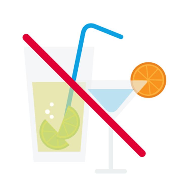 durchgestrichenes Glas mit einem alkoholischen Getränk