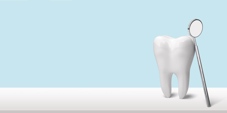 Zahn aus Porzellan mit Mundspiegel