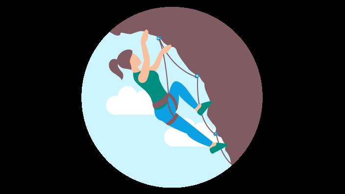 Zeichnung einer Frau beim Freeclimbing an einer Felswand