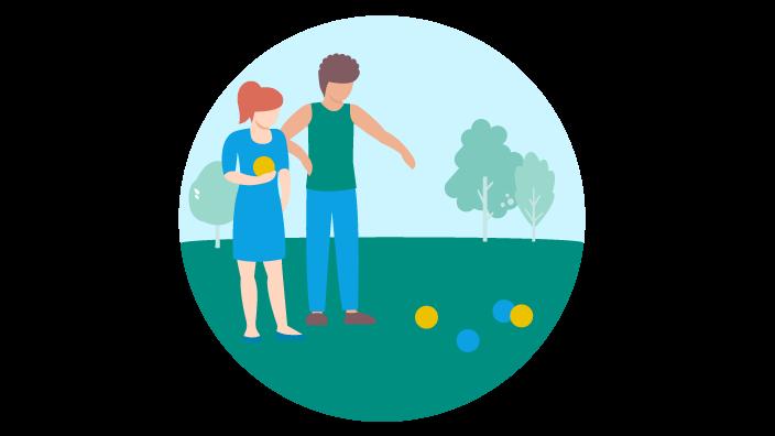 Zeichnung eines Paars beim Boulen im Park