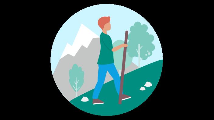 Zeichnung eines Mannes beim Wandern im Gebirge
