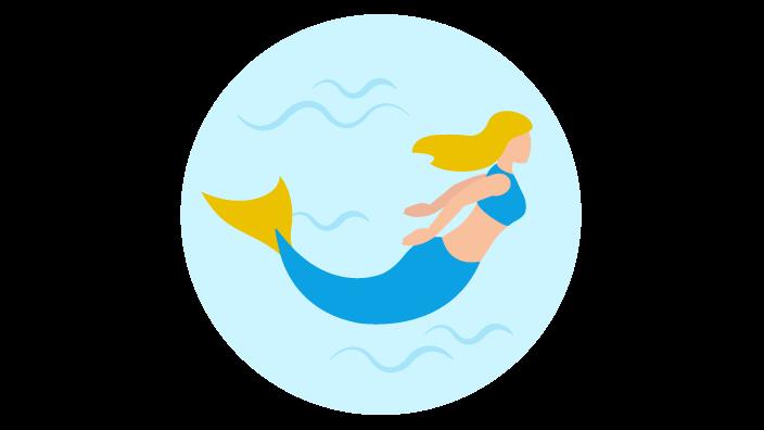 Zeichnung einer Meerjungfrau unter Wasser