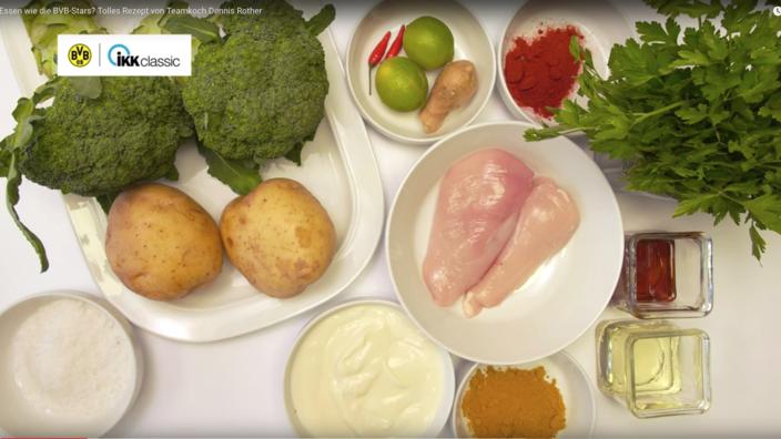 Zutaten für Rezept Ingwer-Huhn auf dem Tisch