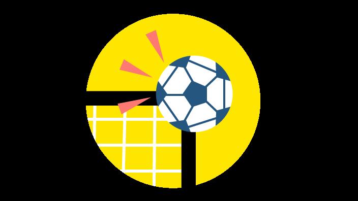 Grafik mit Fußball, der an die Torlatte geht