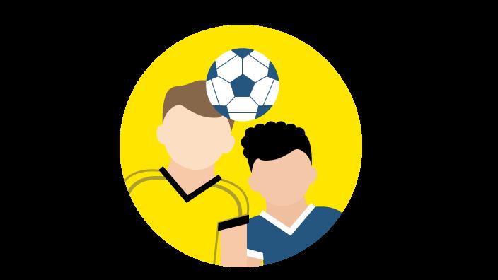 Grafik mit zwei Fußballspielern, die sich im Kopfduell den Ball zuspielen