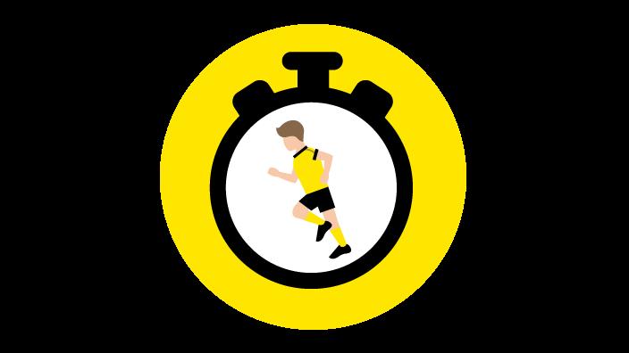Grafik mit einer Stoppuhr, in der Mitte der Stoppuhr ist ein laufender Fußballspieler zu sehen