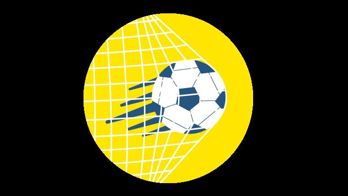 Grafik mit Fußball, der ins Tornetz fliegt