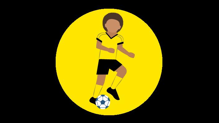 Grafik mit dribbelndem Fußballspieler