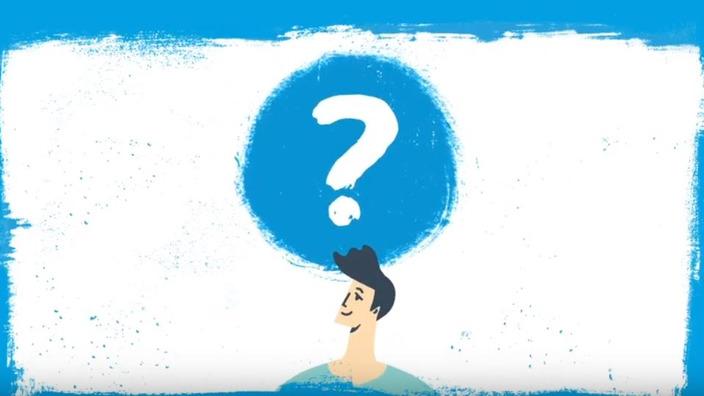 Startscreen des Erklärvideos zum Wechsel der Krankenkassenmitgliedschaft, im Comic-Stil gezeichneter Versicherter hat ein Fragezeichen über dem Kopf