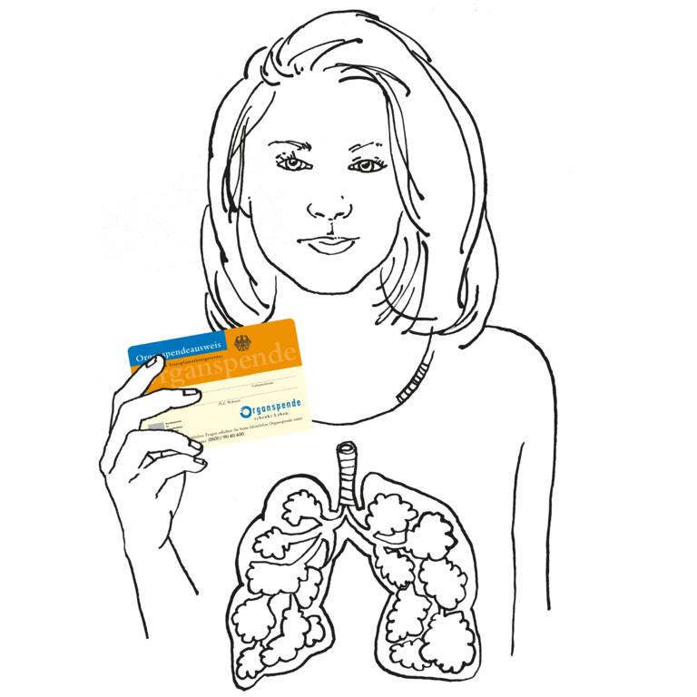 Frau zeigt ihren Organspendeausweis