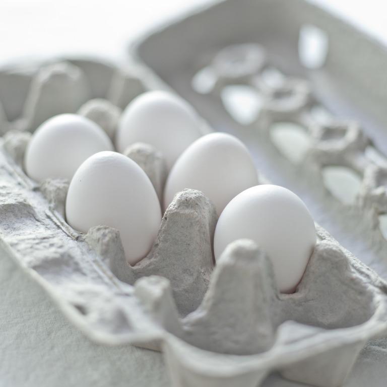 Karton mit frischen Eiern