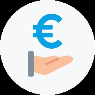 über einer ausgestreckten Hand schwebt ein Euro-Zeichen