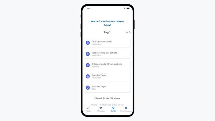 Wochenübersicht der Kenkou-App