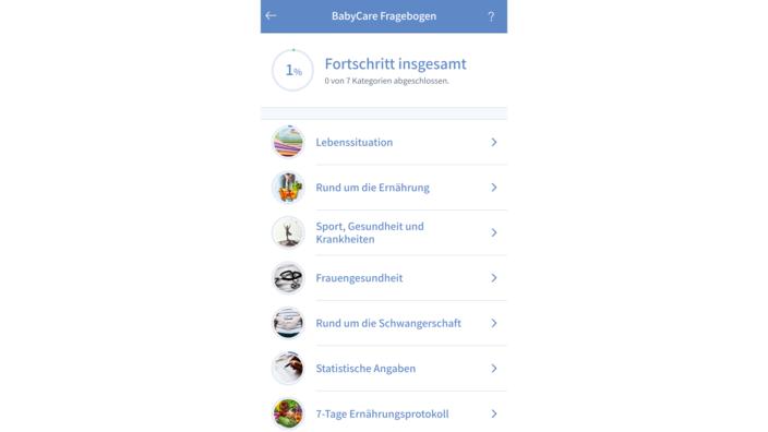 Fragebogen der BabyCare-App