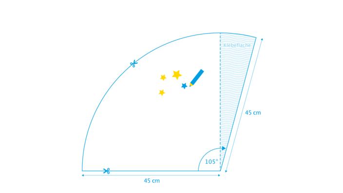 grafische Darstellung des ersten Bastelschritts für eine Schultüte