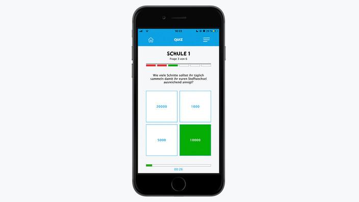 Smartphone mit Bildausschnitt missionmacher-App zum Quiz