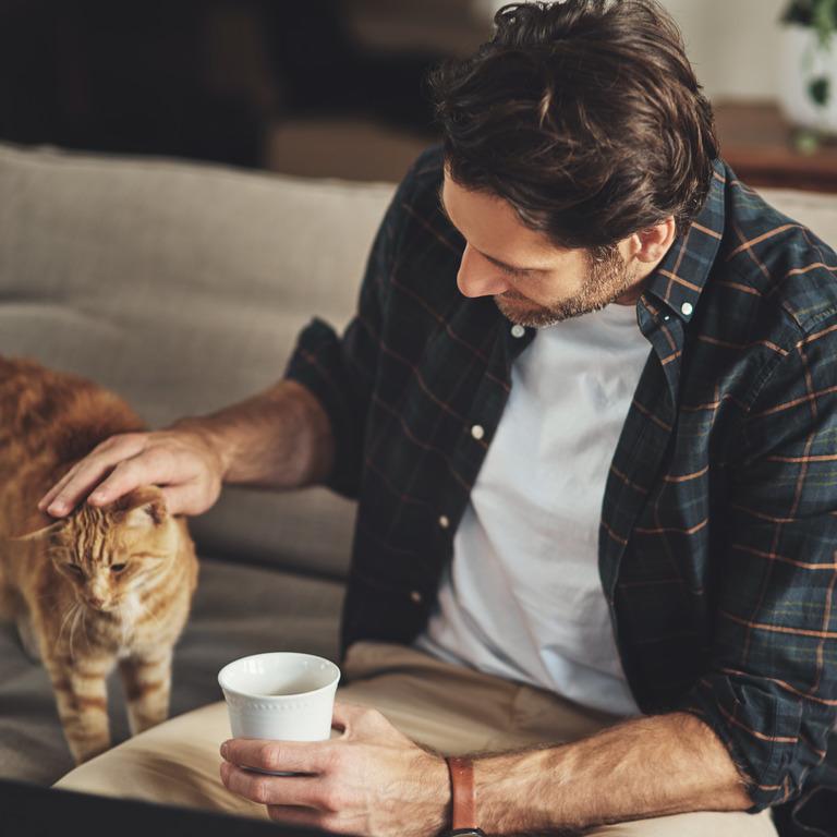 Mann im Karohemd sitzt mit einer Tasse auf der Couch und streichelt eine rote Katze