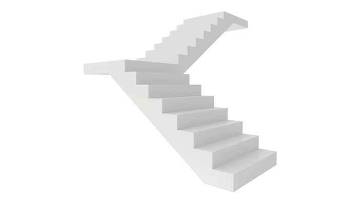 Freistehende weiße Treppe