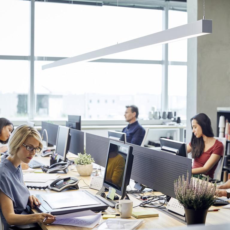 Sechs Menschen sitzen im Büro an Computern.