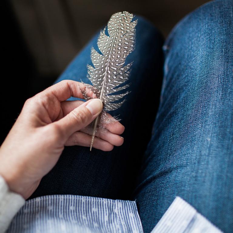 Hand hält eine Perlhuhnfeder
