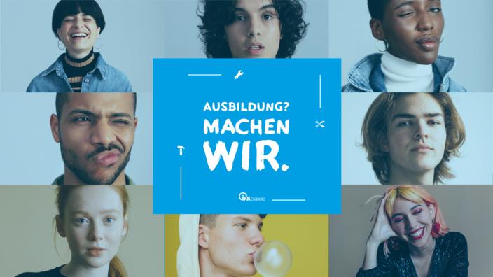 """Die Gesichter von acht jungen Menschen umgeben den Schriftzug """"Ausbildung? Machen wir."""""""