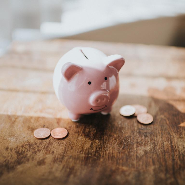 Rosanes Sparschwein steht umgeben von Geldmünzen auf einem Holztisch