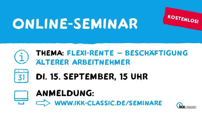 Grafik mit Eckdaten zum Online-Seminar Flexi-Rente