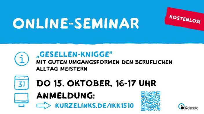 Grafik mit Eckdaten zum Online-Seminar Gesellen-Knigge