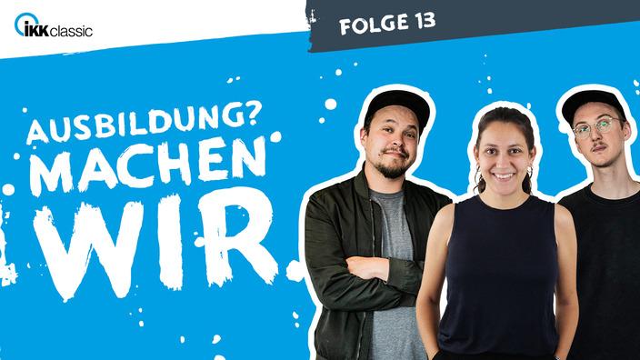 Podcast-Team mit den Moderatoren Lucas und Marco und Sarah von azubi.de