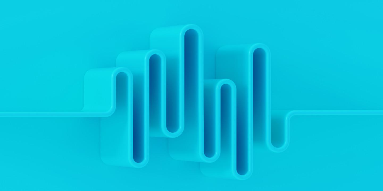 Ein blaues Visual mit einer dreidimensionalen Illustration einer Tonspur.