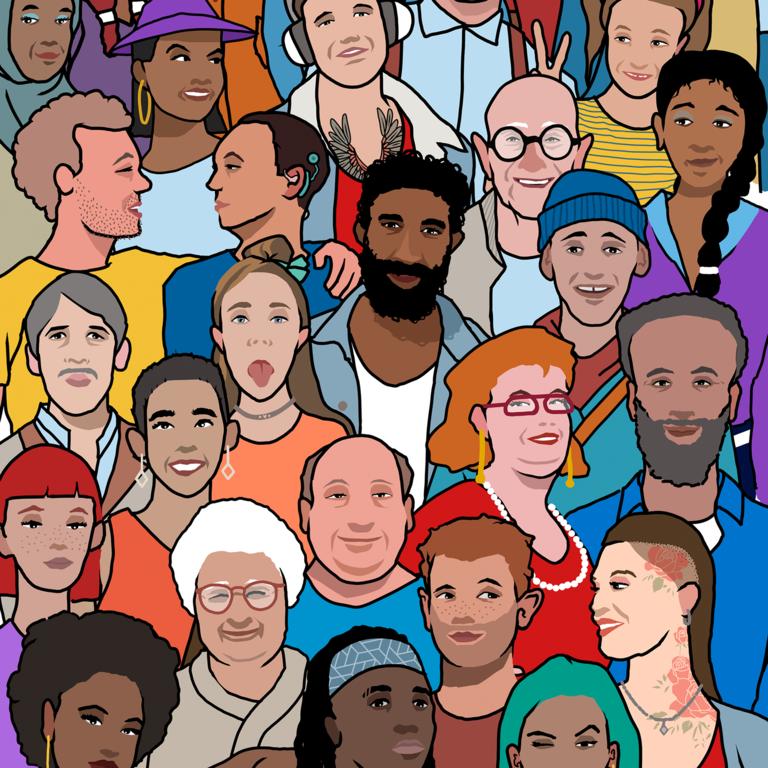 Illustration mit vielen verschiedenen Menschen im Comic-Stil