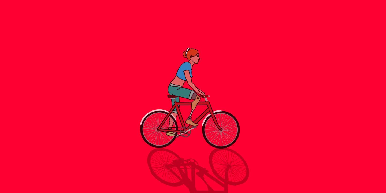 Visual einer Fahrradfahrerin mit Beinprothese