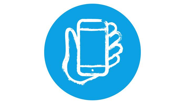 Icon eins Smartphones in einer Hand haltend