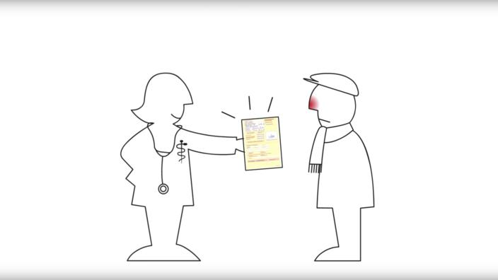 Startscreen des Erklärvideos zur Krankmeldung